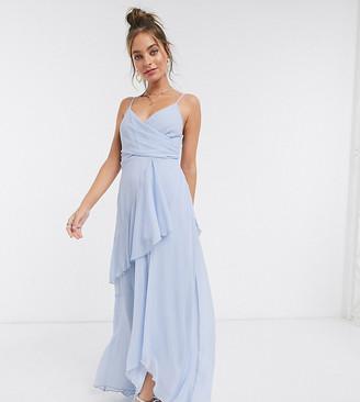 ASOS DESIGN Petite soft layered cami maxi dress in soft blue