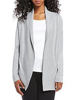 Leo & Nicole Ribbed Shawl Collar Open Front Cardigan
