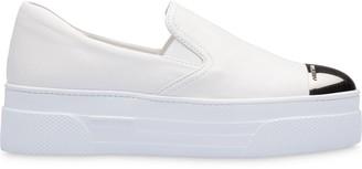 Miu Miu Metal Cap Slip-On Sneakers