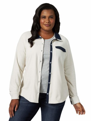 Riders by Lee Indigo Womens Plus Size Long Sleeve Front Fleece Shirt Stand Up Collar