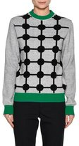 Marni Dot-Print Wool-Cashmere Sweater with Contrast Trim, Gray