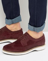 Asos Brogue Shoes In Burgundy Suede With White Heavy Sole