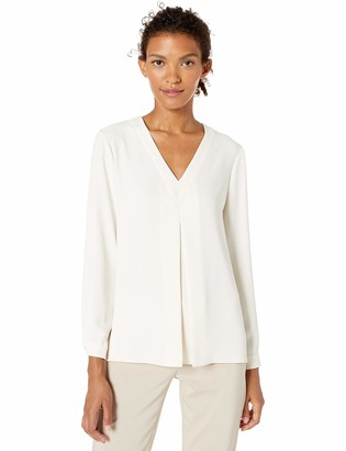 Anne Klein Women's Long Sleeve Inverted Pleat Front Blouse