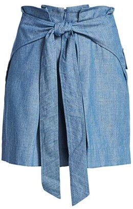 3.1 Phillip Lim Belted Chambray Paperbag Shorts