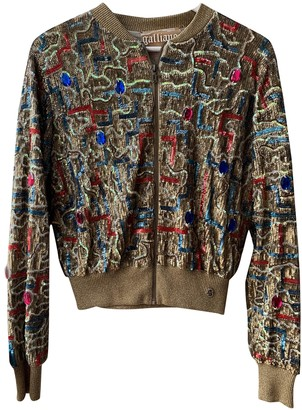Galliano Gold Glitter Leather Jacket for Women