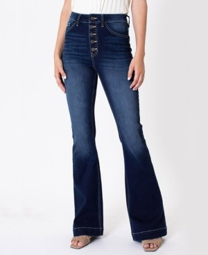 Kancan Women's High Rise Button-Fly Flare Jeans