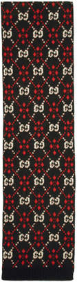 Gucci Black and Red GG Diamond Scarf