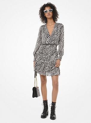 Michael Kors Zebra-Print Georgette Ruffled Dress