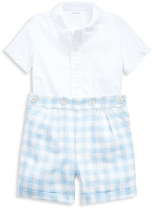 Ralph Lauren Baby Boy's 2-Pioce Linen Gingham Shirt & Shorts Set