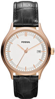 Fossil Archival Leather Watch - Black