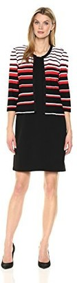 Sandra Darren Women's 2 Pc 3/4 Sleeve Striped Sheath Jacket Dress with Belt