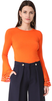 Milly Cutout Flare Sleeve Pullover