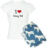 CafePress - I Love Being Tall Pajamas - Womens Novelty Cotton Pajama Set, Comfortable PJ Sleepwear