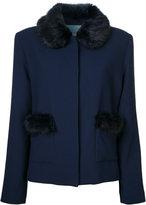 Shrimps - Duke faux fur trim jacket - women - Wool - 12