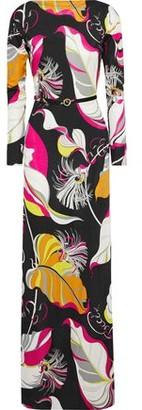Emilio Pucci Belted Printed Silk-jersey Maxi Dress