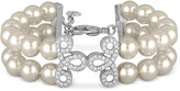 Majorica Sterling Silver Imitation Pearl and Crystal Pavé Layer Bracelet
