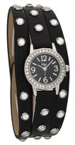 MC M&c Women's Stylish PU Leather Band with Crystal Watch