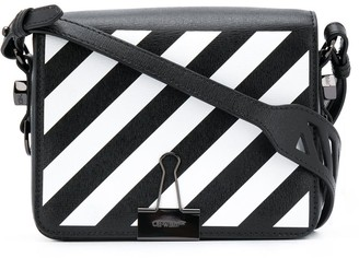Off-White diagonal-stripe Binder-Clip shoulder bag