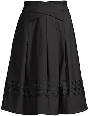 Donna Karan Circle Embroidered Skirt