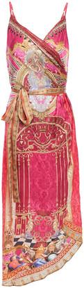 Camilla Crystal-embellished Printed Silk-satin Mini Wrap Dress