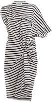 Junya Watanabe Striped asymmetric gathered cotton-jersey dress
