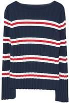 MANGO Striped Embossed Sweater