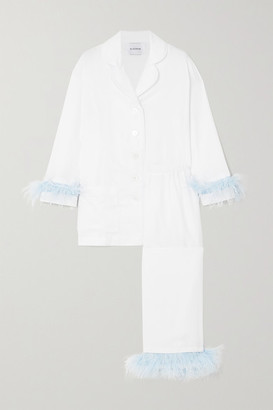 Sleeper Feather-trimmed Crepe De Chine Pajama Set - White