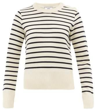 Ami Breton-stripe Wool Sweater - Womens - White Multi
