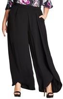 City Chic Plus Size Women's Split Front Wide Leg Pants