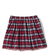 Lands' End Girls Plaid Taffeta Skirt-Rich Red Multi Plaid