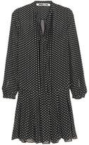 McQ by Alexander McQueen Pintucked Flocked Silk-blend Dress - Black