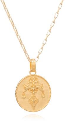 Rachel Jackson London Statement Zodiac Art Coin Libra Long Necklace Gold