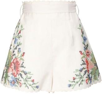 Zimmermann Bellitude Floral Print Linen Shorts