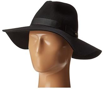 San Diego Hat Company WFH8049 Wide Flat Brim Fedora (Black) Fedora Hats