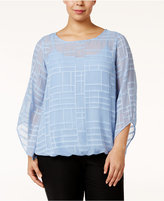 Alfani Plus Size Angel-Sleeve Burnout Top, Only at Macy's