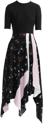 Maje Rilla Floral Two-Tone Patch Midi Dress