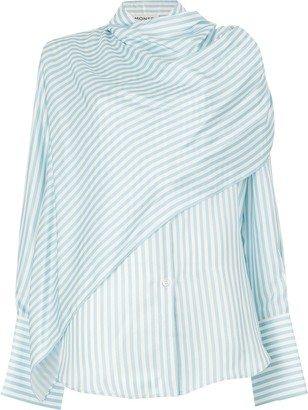 Monse Scarf Front Striped Shirt