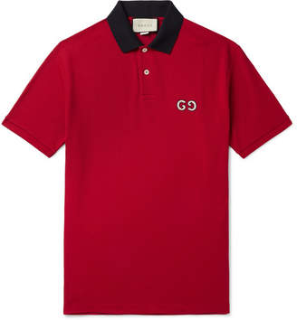Gucci Logo-Embroidered Stretch-Cotton Pique Polo Shirt