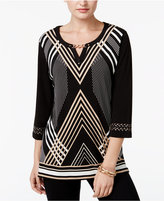 JM Collection Petite Printed Chain-Trim Top, Only at Macy's
