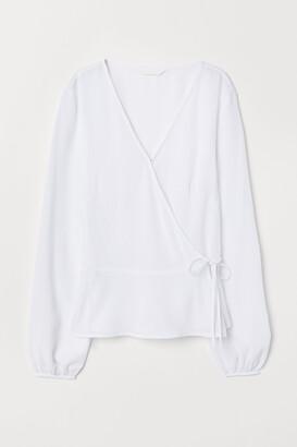 H&M Jacquard weave wrapover blouse