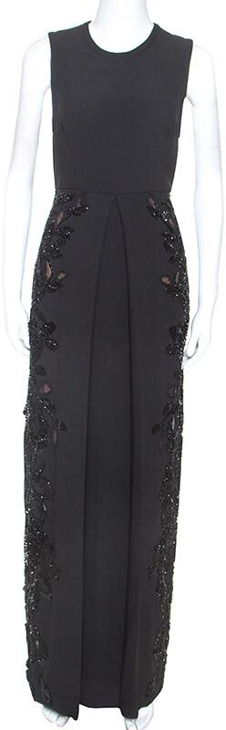 Elie Saab Black Crepe Tulle Embellished Sleeveless Maxi Gown S