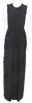 Elie Saab Black Crepe Tulle Embellished Sleeveless Maxi Gown S
