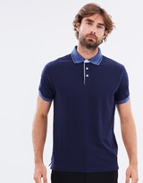 Hackett Print Undercollar Short Sleeve Polo Shirt