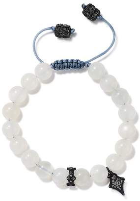 Armenta Blackened Sterling Silver Old World Pavé Champagne Diamond & Moonstone Beaded Bracelet