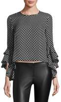 Milly Dot Print Gabby Bell Sleeves Top