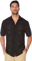 Cubavera Big & Tall Tonal Embroidered Palm Panel Shirt
