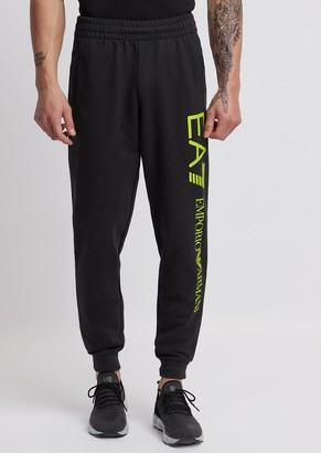 Emporio Armani Train Logo Jogging Trousers In Baby French Terry Cotton
