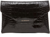 Givenchy Anitgona Croc Envelope Clutch in Emerald Green