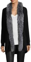 Saks Fifth Avenue Women's Fox Fur-Trimmed Solid Cardigan