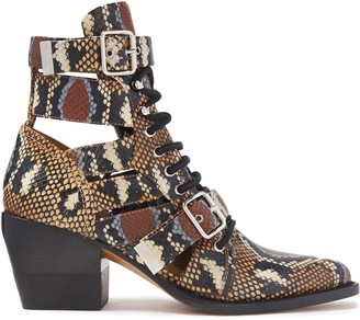 Chloé Cutout Buckle-detailed Snake-effect Leather Ankle Boots